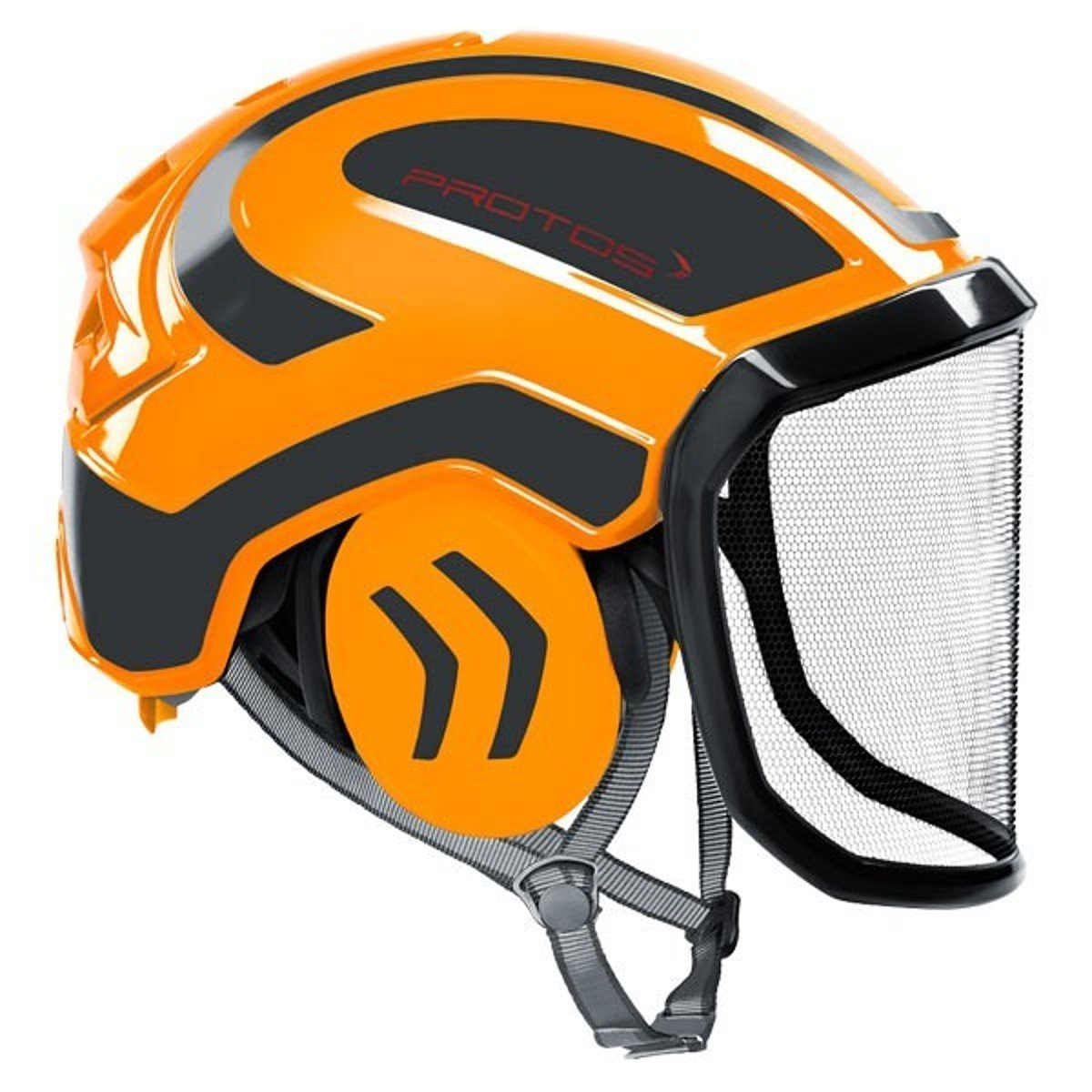 couleur:orange//gris;Ausstattung:feines Visier Protos Integral Arborist casque