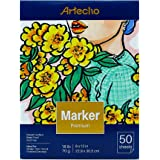 Artecho Marker Pad, Artist Paper Pad, Semi-Translucent for Pen, Pencil and Marker, Fold Over, 18 Pound, 9 x 12 Inch, White, 50 Sheets