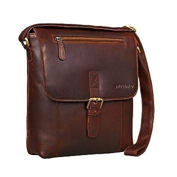 dc18aa7512e8b3 STILORD 'Matthias' Herren Umhängetasche Leder Vintage Messenger Tasche 10.1  Zoll Tablettasche klein Schultertasche echtes