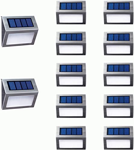 Warm Light Solar Lights for Steps Decks Pathway Yard Stairs Fences, LED lamp, Outdoor Waterproof, 12 Pack