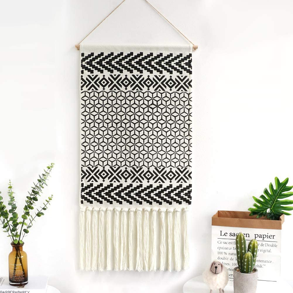 "Dremisland Macrame Woven Wall Hanging Tapestry- Boho Chic Bohemian Black&White Geometric Art Decor - Beautiful Apartment Dorm Room Door Decoration, 17.3"" W x 32"" L (Morocco)"