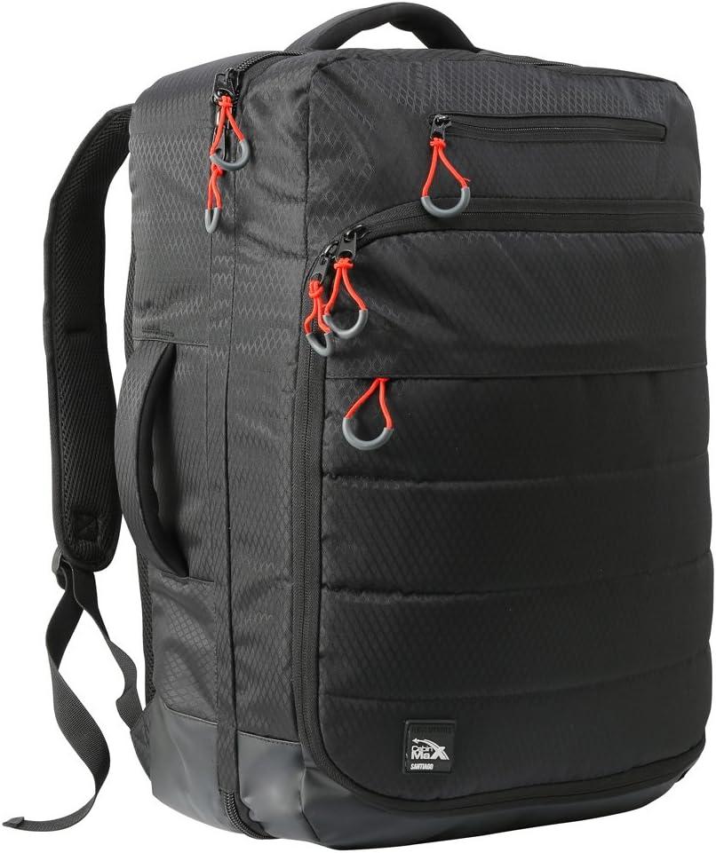 Cabin Max Santiago - Mochila para Portátil y Tablet para Viajar - 55x40x20 - Bolsillo Acolchado para Portátil Incorporado - Equipaje de Mano Aprobado para el Vuelo - Adecuada para Thomson(Black)