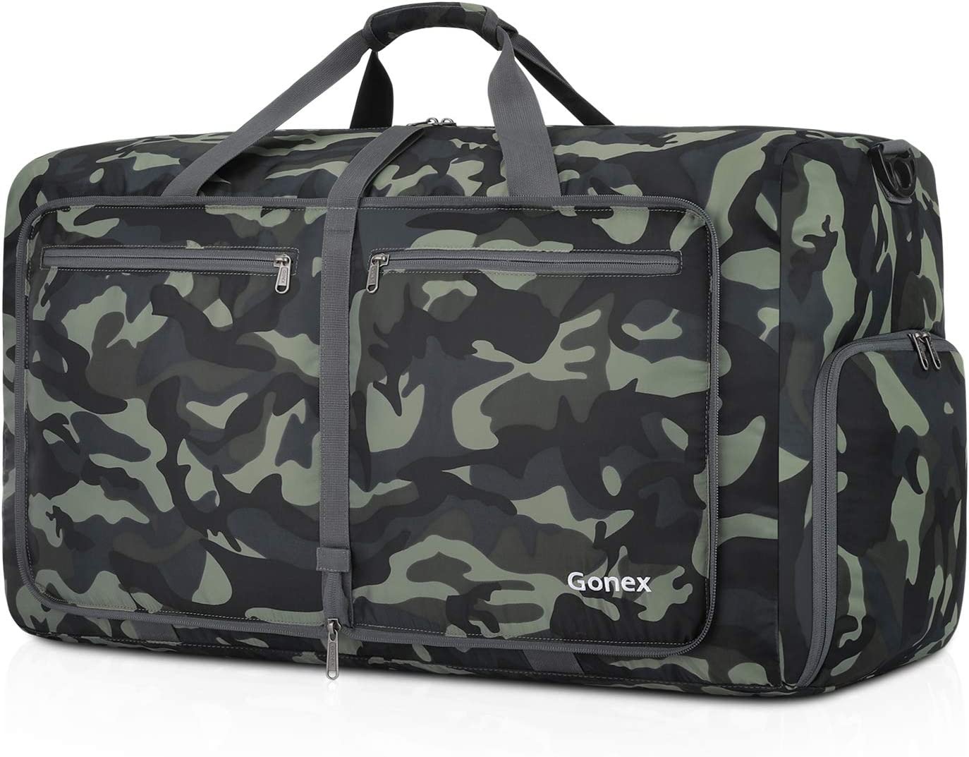 Gonex Bolsa de Viaje 80L, Plegable Ligero Bolso Equipaje Maleta Grande Bolsas Deportes Gimnasio Maletas de Mano Impermeable Duffel Travel Bag para Hombres y Mujeres Fin de Semana (Verde Camuflaje)