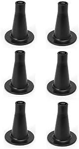 "Leggett & Platt 4335393126 Furniture017 3-5/8"" Tall Replacement Bed Frame Glide Feet, Cone Shaped, Set of 6, Black"