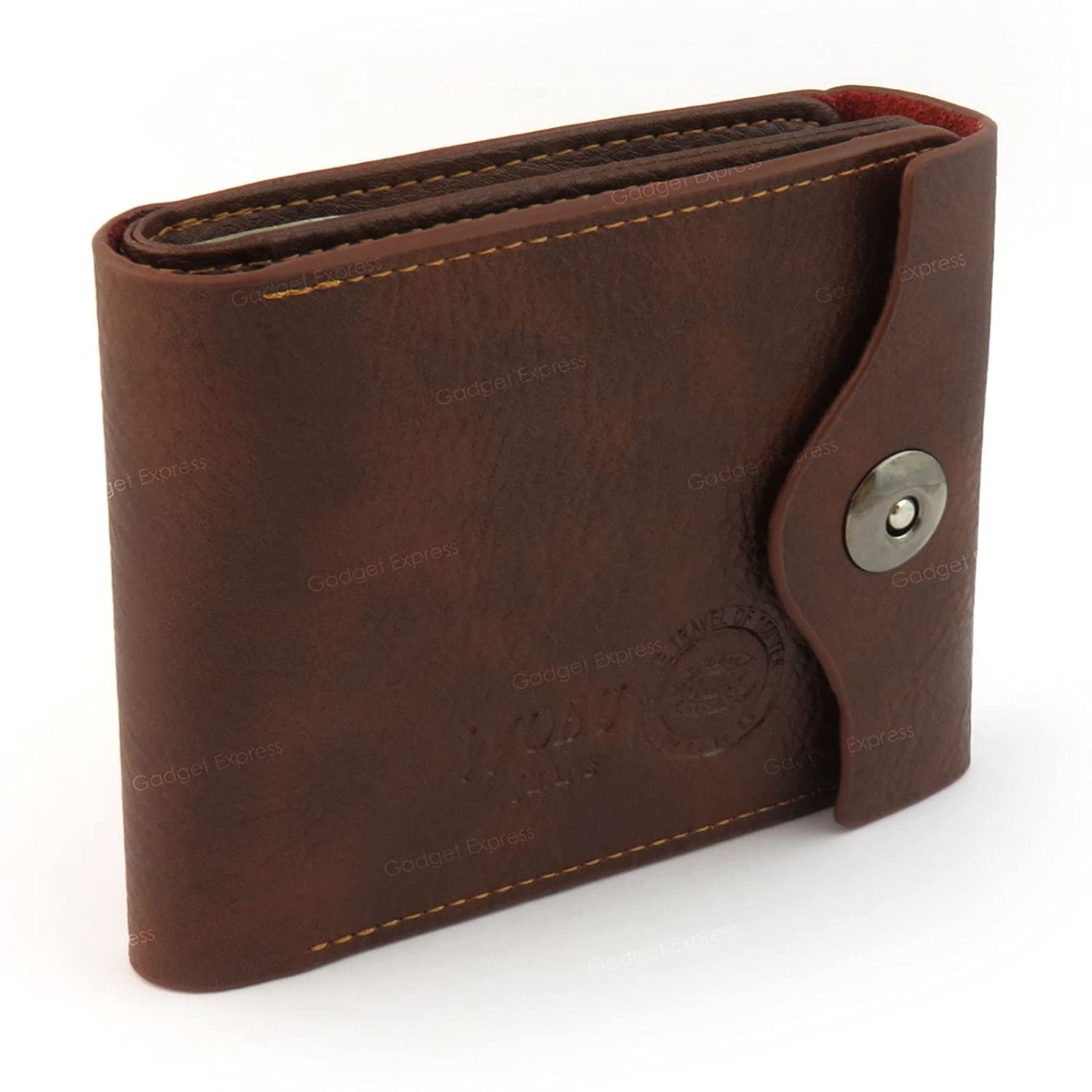 Wobu Mens Brown Luxury High Quality Soft Leather Trifold Wallet Multiple Credit Card Holder Slots Coin Pouch Purse ID Window