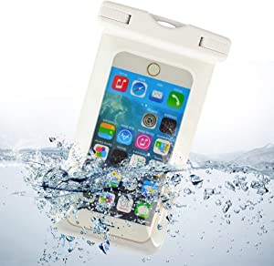 Waterproof Case, with Neck Strap Waterproof Cell Phone Case for 5.5 Inch Devices, for Apple iPhone 4S, Apple iPhone 5, Apple iPhone 5C, Apple iPhone 5S, Apple iPhone 6, 6 Plus, White