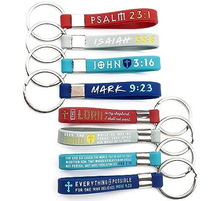 Amazon.com: Paquete de 12 llaveros cristianos de la Biblia ...