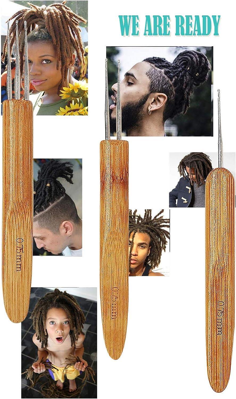 3x Set Natural Bamboo Wood Handle Steel Crochet Hook Needle-Dreadlocks Croch