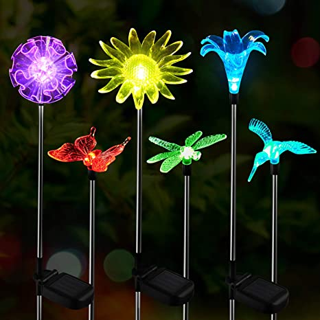Amazon Com Oxyled Solar Garden Lights Outdoor 6 Pack Led Figurine Stake Light Color Changing Landscape Lighting Flower Lights Solar Powered Waterproof For Patio Lawn Yard Pathway Halloween Christmas Decor Home Improvement