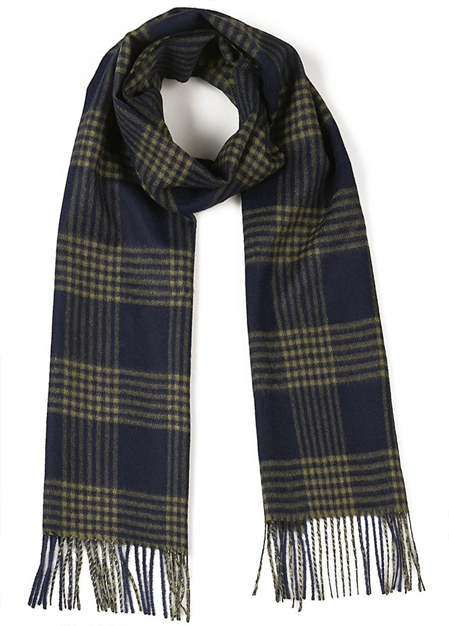 Cross Hatch Plaid Scarf 100% Pure Baby Alpaca - Unequalled Luxury for Men & Women (Navy / Military)