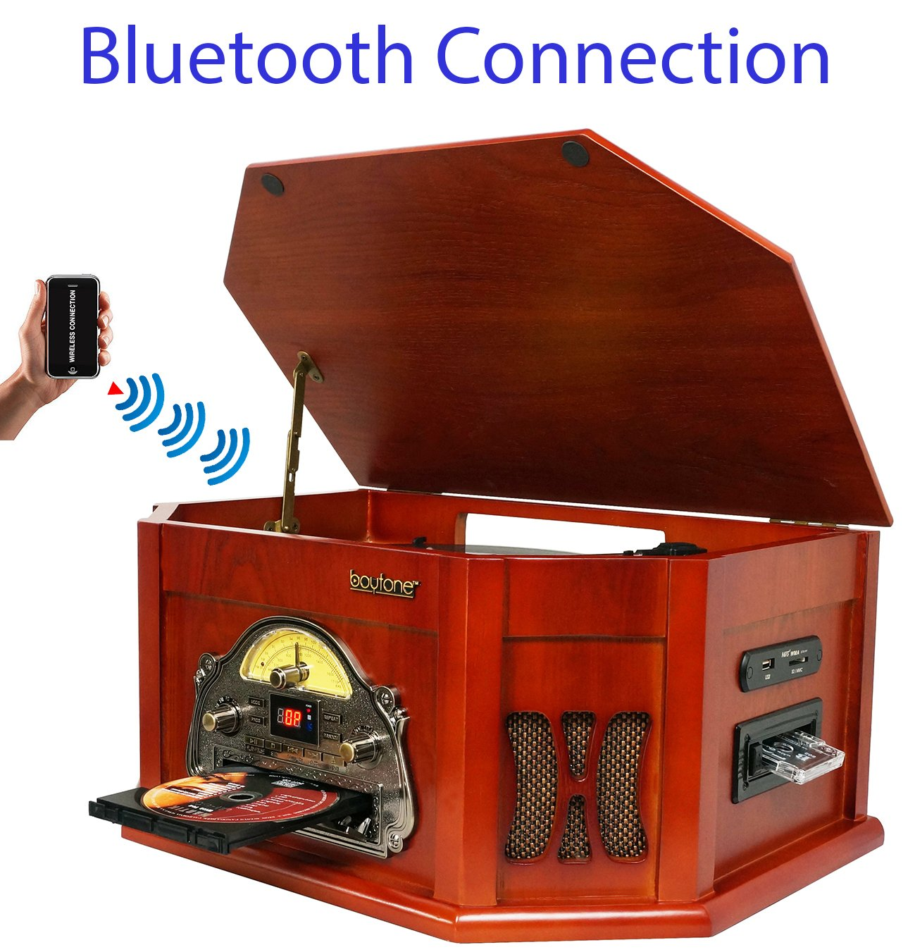 Boytone BT-25CH 8-in-1 Natural Wood Classic Turntable Stereo System with Bluetooth Connection, Vinyl Record Player, AM/FM, CD, Cassette, USB, SD Slot. 2 Built-in Speakers, Remote Control, MP3 Player by Boytone