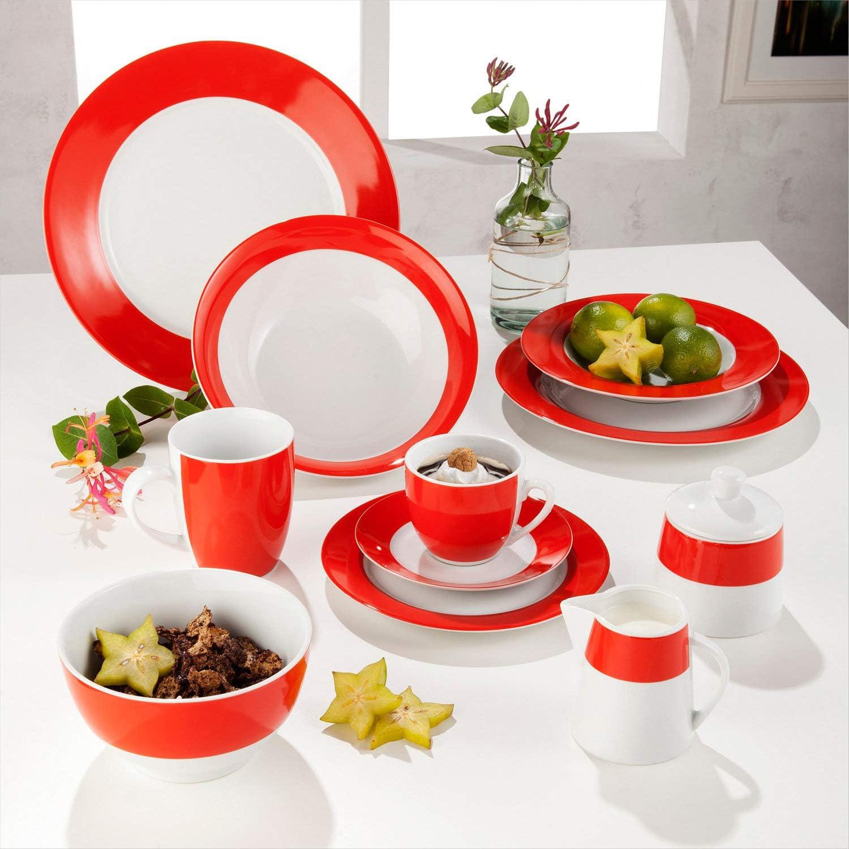 Gepolana Suppenteller 6er-Pack Porzellan orange Gr/ö/ße 22 /Ø
