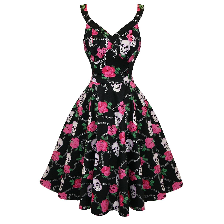 Hearts and Roses London Negro Rockabilly Floral Calavera Vintage Swing Vestido De Fiesta - algodón, Negro, 3% elastano 97% algodón, mujer, 10: Amazon.es: ...