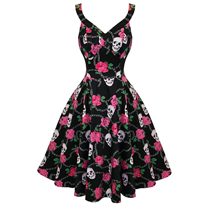 Hearts and Roses London Negro Rockabilly Floral Calavera Vintage Swing Vestido De Fiesta - algodón,
