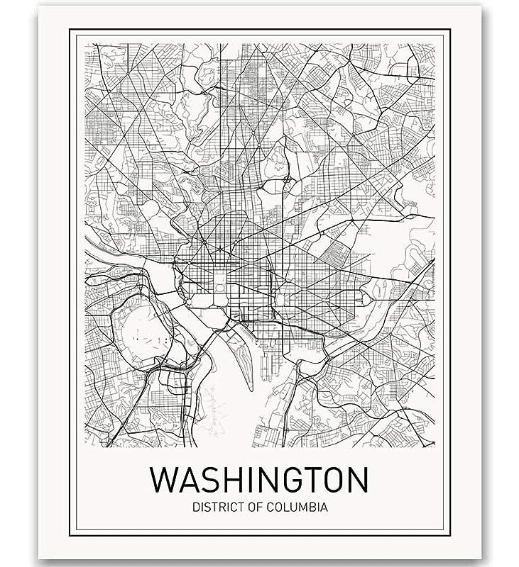 Washington Dc Map Washington Dc Poster Washington Map Print City Map Posters Washington Map Minimalist Poster Map Wall Art Modern Map Art Scandinavian Poster Black And White 8x10 Handmade