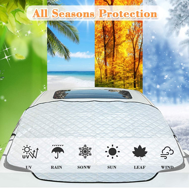 Protector para Parabrisas con im/án Cubierta de Parabrisas Coche Protege de Rayos Antihielo y Nieve Rakaraka Protector de Parabrisas UV Lluvia Funda Plegable Parabrisa Delantero 193 x157x126 CM
