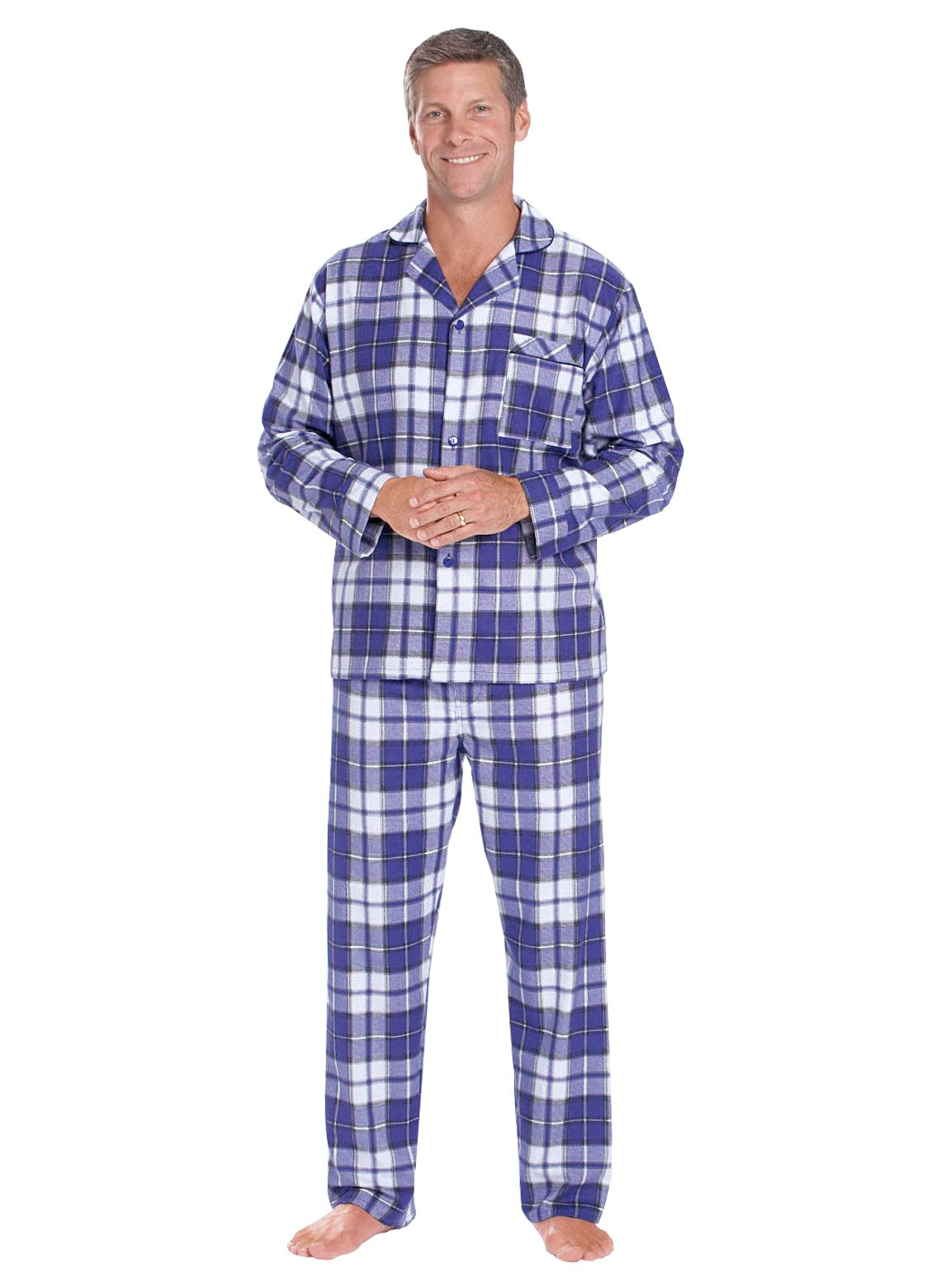 Carol Wright Gifts Men's Flannel Pajamas, Blue, Size Small