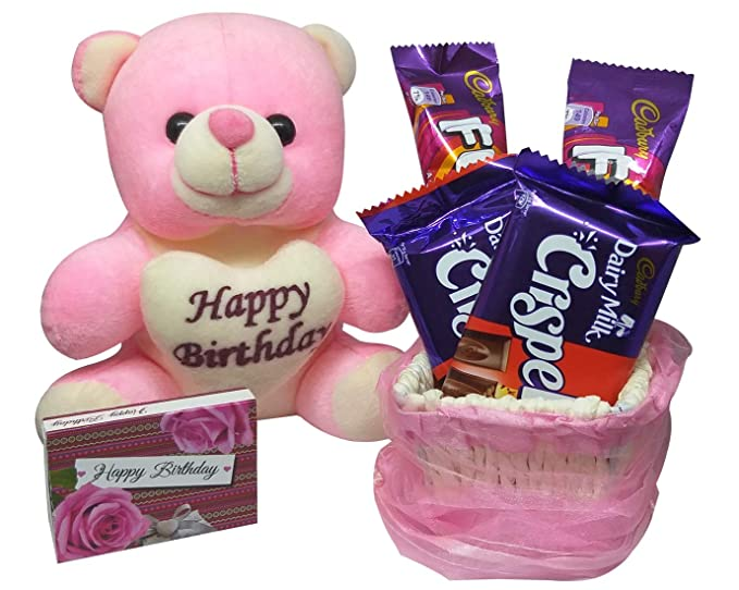 Saugat Traders Birthday Gift For Girlfriend Or Wife Birthday Box With Happy Birthday Teddy 4 Chocolate Amazon In Grocery Gourmet Foods