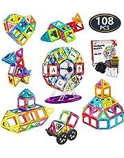 Jasonwell 108 PCS Creative Magnetic Building Blocks for Boys Girls Magnetic Tiles Building Set Preschool Educational Construction Kit Magnet Stacking Toys Christmas Gift for Kids Toddlers Children 3 4 5 6 7 8 9 Years Old