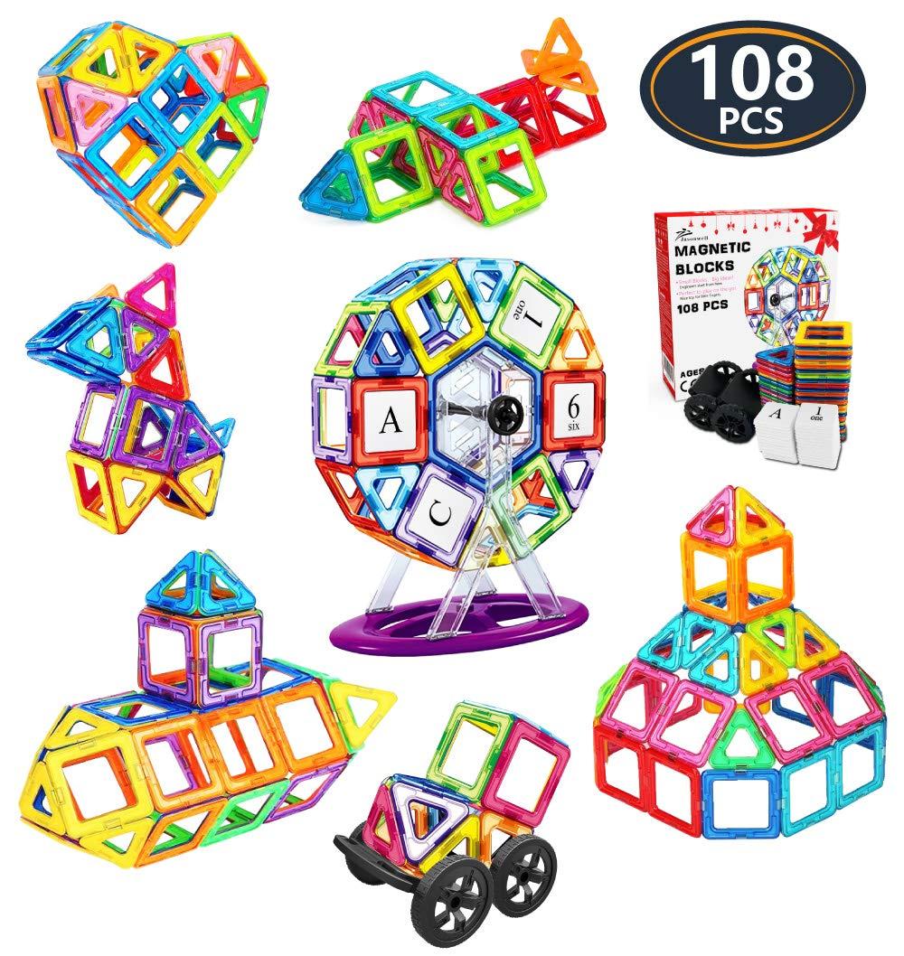 Jasonwell 108 Pcs Magnetic Tiles Building Blocks Set for Boys Girls Preschool Educational Construction Kit Magnet Stacking Toys for Kids Toddlers Children Age 3 4 5 6 7 8 Year Old