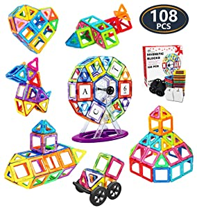 Jasonwell 108 Pcs Magnetic Tiles Building Blocks Set for Boys Girls Preschool Educational Construction Kit Magnet Stacking Toys for Kids Toddlers Children Age 3 4 5 6 7 8 Year Old