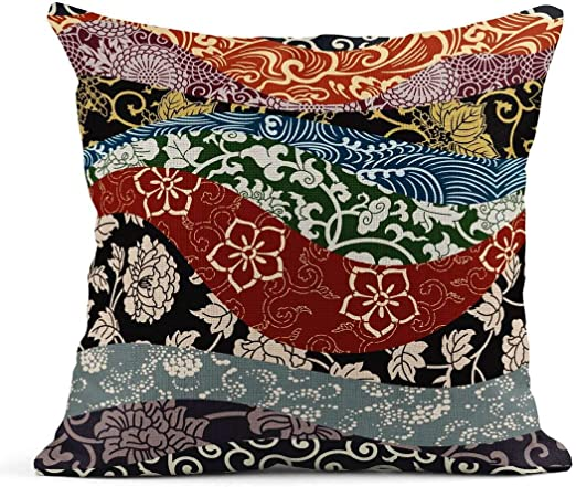 Zome Lag Fundas de cojín Kimono Patchwork Tradicional japonés ...