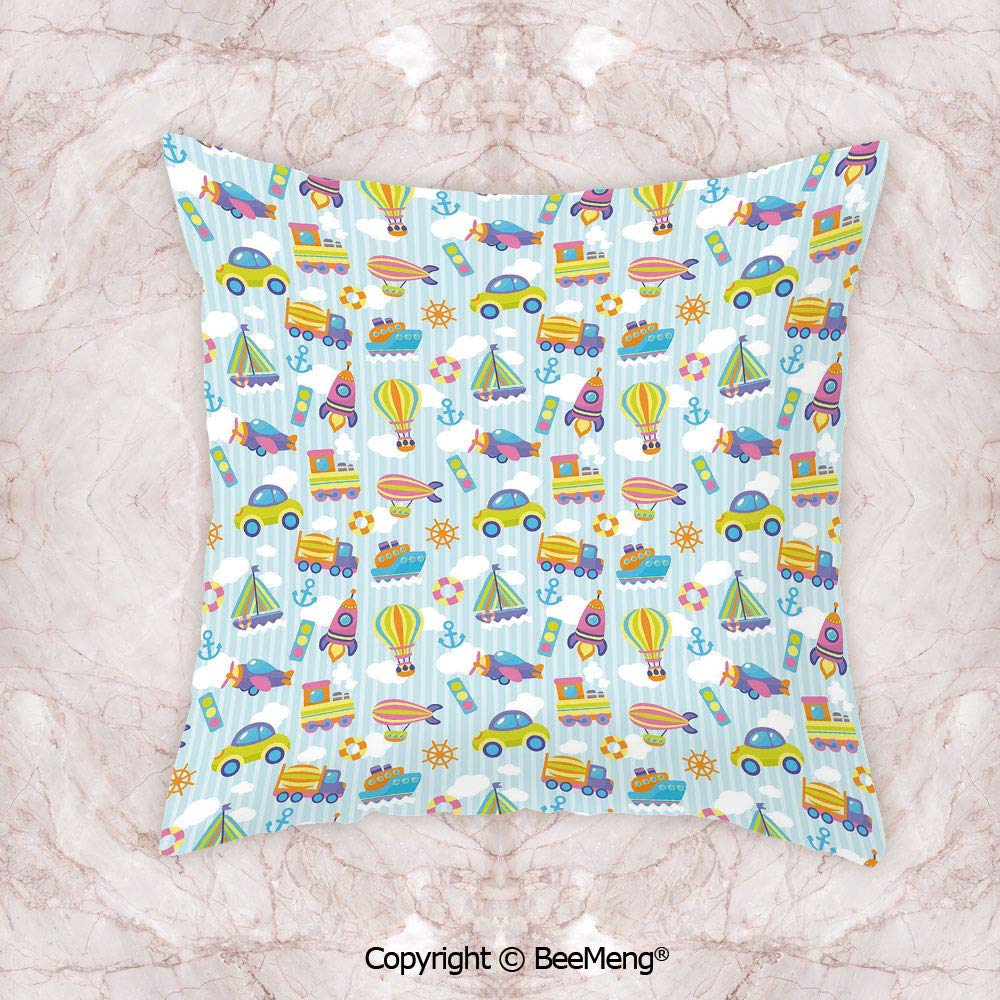 Square Throw Pillow waist cushion,Kids,Transportation Themed Toy Vehicles And Icons Pattern On Stripes And Fluffy Clouds Decorative,Multicolor,19.6x19.6 Inch,Soft and comfortable Healthy Kids Room