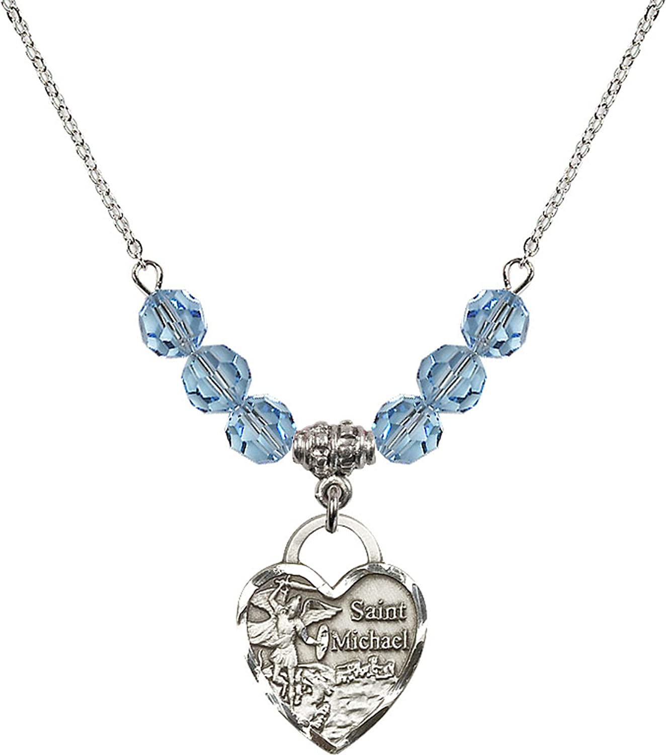 Bonyak Jewelry 18 Inch Rhodium Plated Necklace w// 6mm Blue March Birth Month Stone Beads and Saint Michael The Archangel Charm