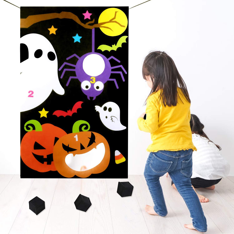 Legendog Halloween-Wurfspiel-Set, Mehrzweck-Halloween-Spieltür-Banner mit Wurfbällen