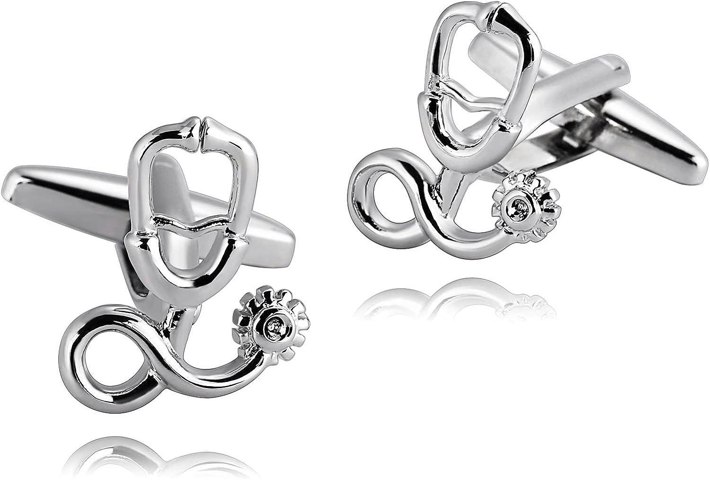 AiZnoY - Gemelos de acero inoxidable para hombre, diseño de estetoscopio, color plateado