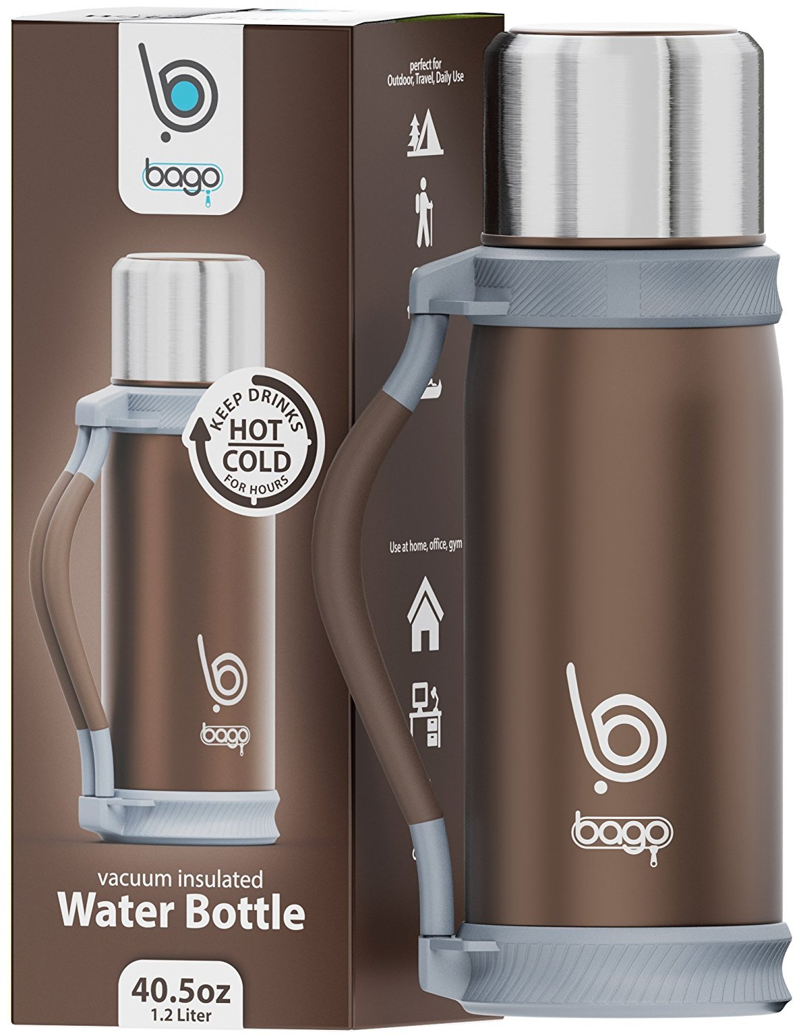 bago Insulated Water Bottle - Keep Drinks Hot/Cold Hours. Best Travel, Sport, Camping, Runners Personal Daily Use - 1.2 Liter Stainless Steel Vacuum Cup Carrier