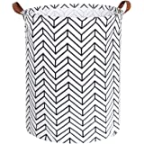 Tsingree Collapsible Laundry Hamper, Round Cotton Linen Laundry Basket, Large Storage Bin for Kids Room and College Dorm…