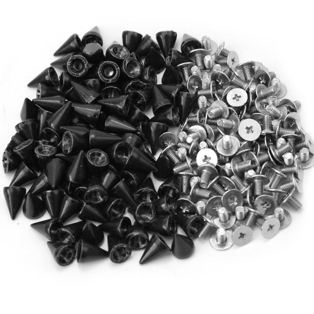 Refaxi Punk Rock 100 Pcs 10mm Black Bullet Rivets Studs Spikes DIY Bags Shoes Clothes