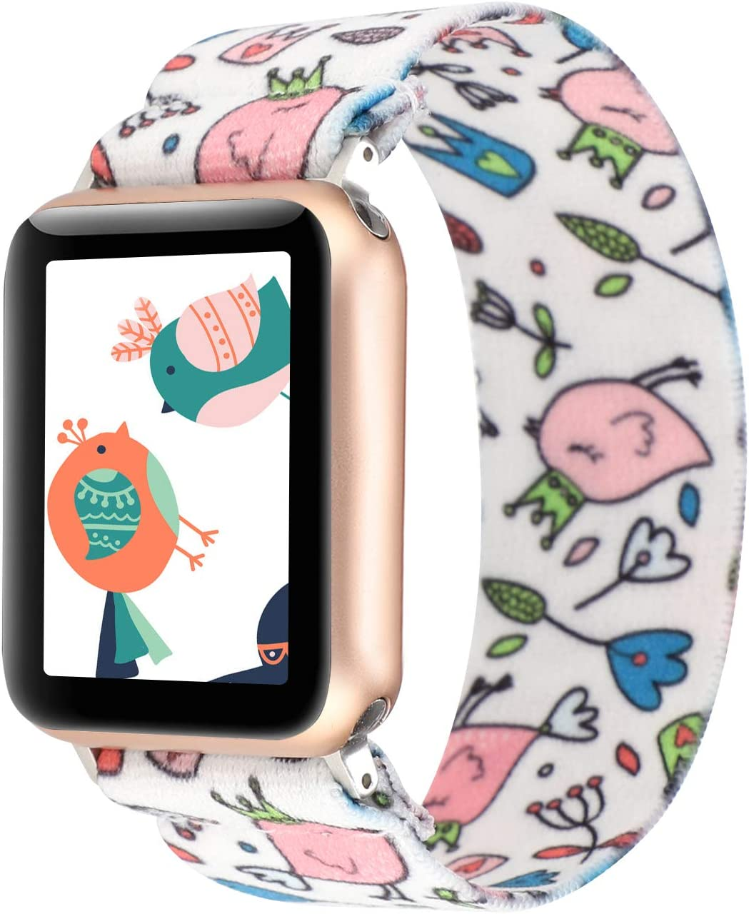 PENKEY Stretchy Band Compatible with Apple Watch Elastic Band 38mm 40mm Cute Pattern Soft Nylon Strap Replacement Wristband for iWatch Series 5/4/3/2/1 (Cartoon Animals, 38mm/40mm Small Size)