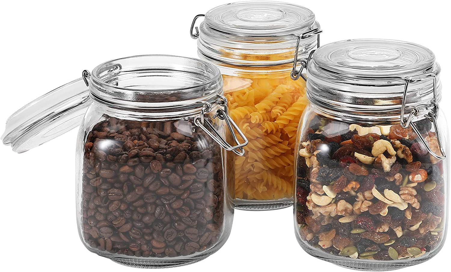 Focus Line Glass Jars with Airtight Lids, Set of 3 Food Storage Canisters Square, Storage Containers with Leak Proof Rubber Gasket, for Kitchen Canning Cereal Pasta Sugar Spice(34/34/34oz)