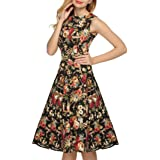 Gillberry Women's S Retro Vintage Printed Dress Sleeveless Big Bottom Swing Dress Medium Black