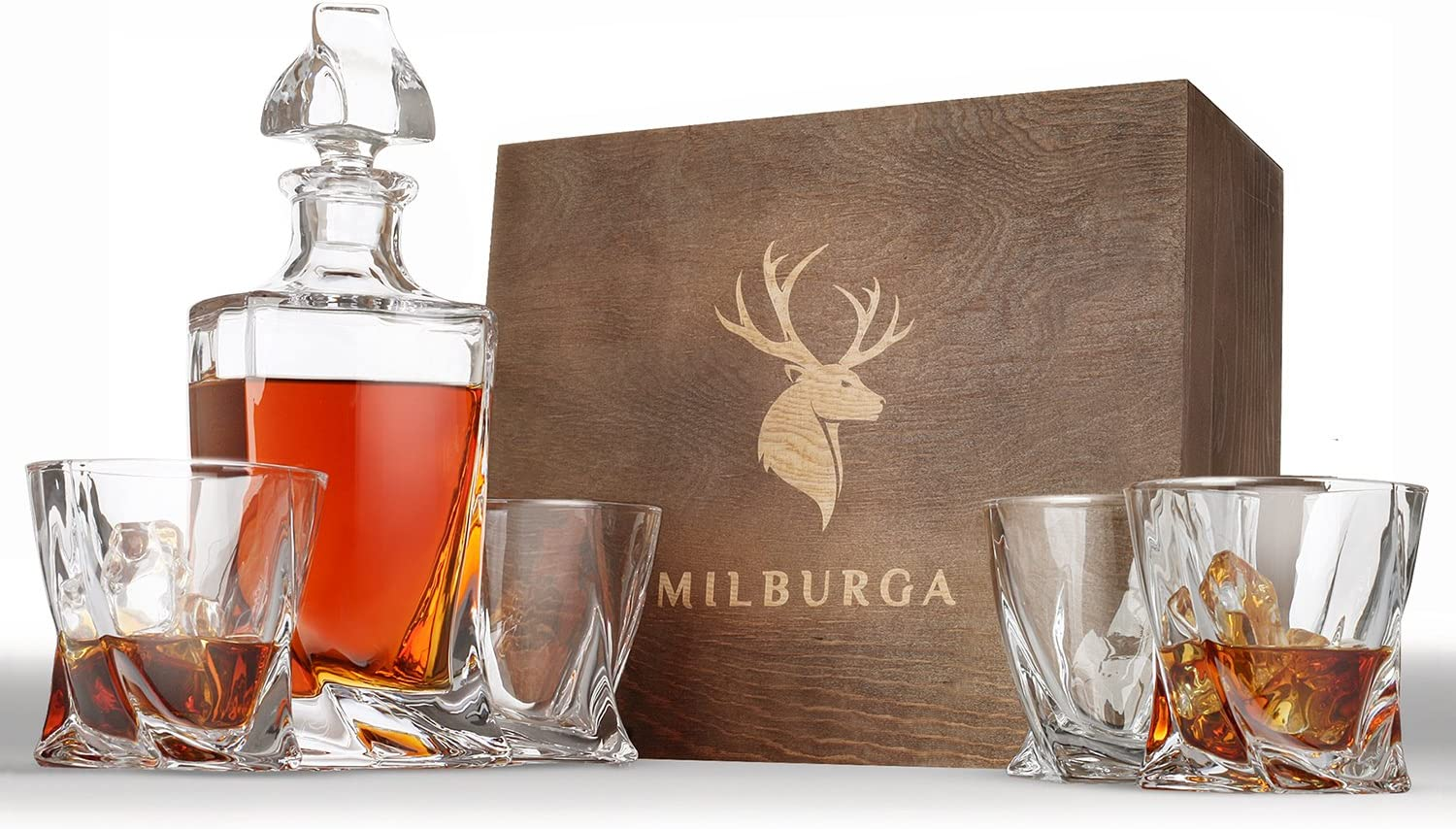 Premium Quality 5-Piece Whiskey Decanter Set and 4 Glasses in Exquisite Hand Crafted Wooden Box – Unique Design Lead-Free Crystal Liquor Decanter. Perfect Gift Set for Scotch, Bourbon or Whisky
