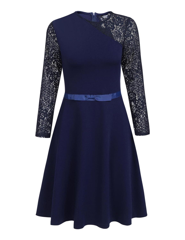 TALLA XXL. Meaneor Vestidos De Cóctel De Fiesta Manga Larga De Encaje Elegantes para Mujer Azul Marino XXL