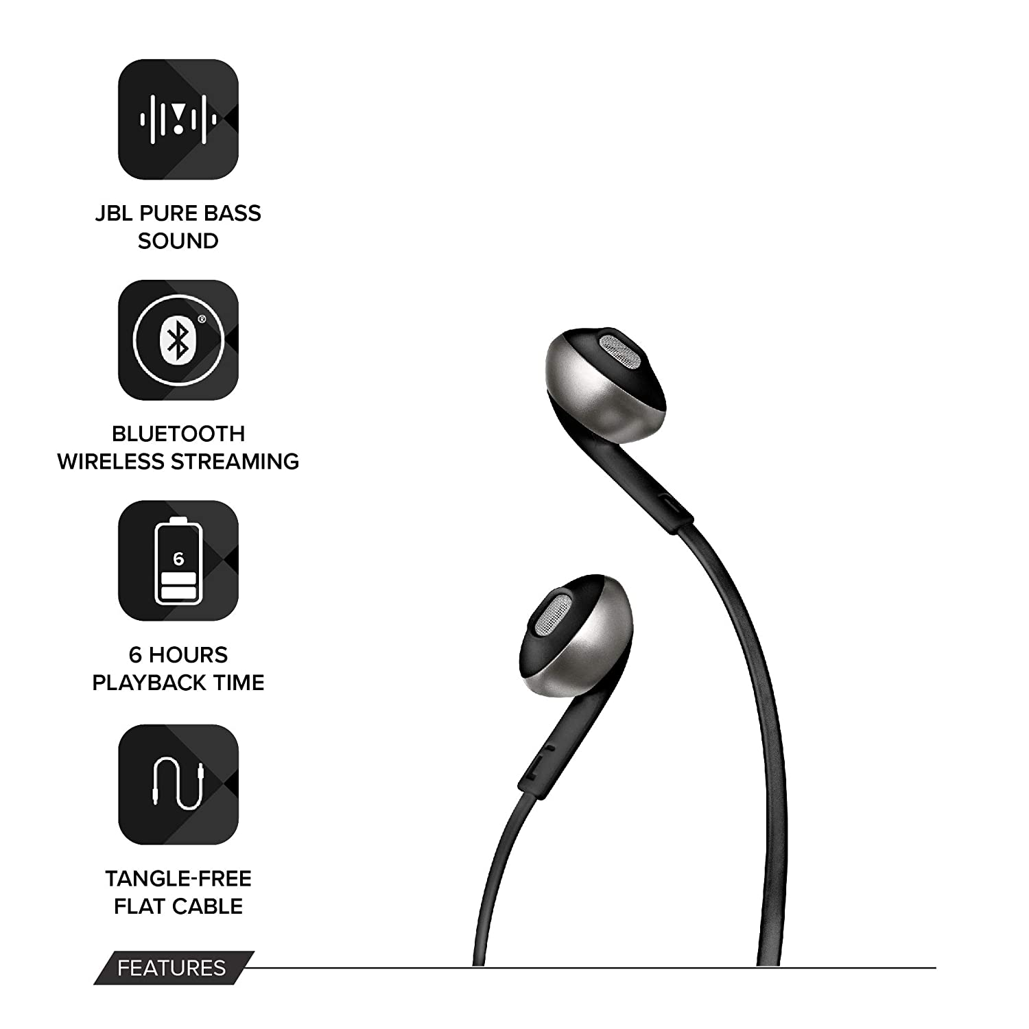 JBL TUNE 205BT Wireless In-Ear Earbud Headphones with Bluetooth and  Microphone, Flat Tangle-Free Cable, Black