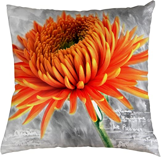 Amazon Com Flower Throw Pillow Cover Beautiful Flower Orange Daisy Gray Background For Couch Sofa Bed Car Seats Home Decorative Throw Pillow Case 14 X14 Home Kitchen