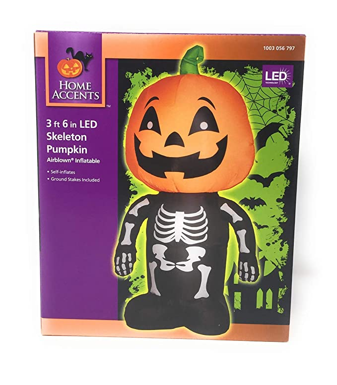 Holiday Decoration Gemmy Airblown Inflatable Skeleton Boy with a Pumpkin as His Head 3.5-foot Tall Arett Sales Corp G08-64929X