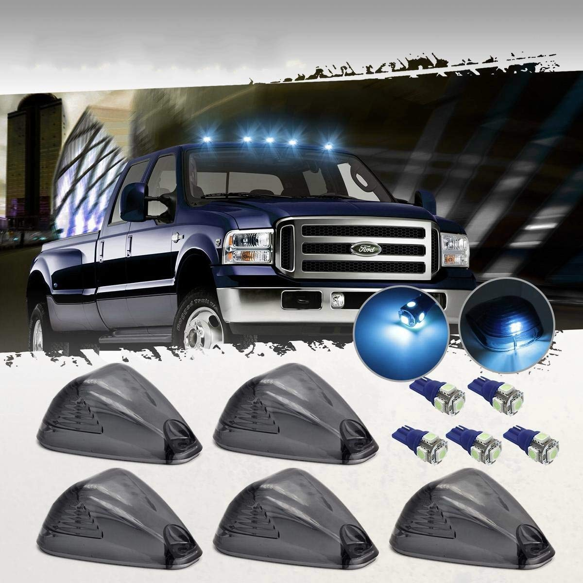 cciyu 5x Black Smoked Cab Roof Top Marker Running Lamps w//Red LED Light Bulbs Replacement fit for Replacement fit ford Super Duty Pickup truck