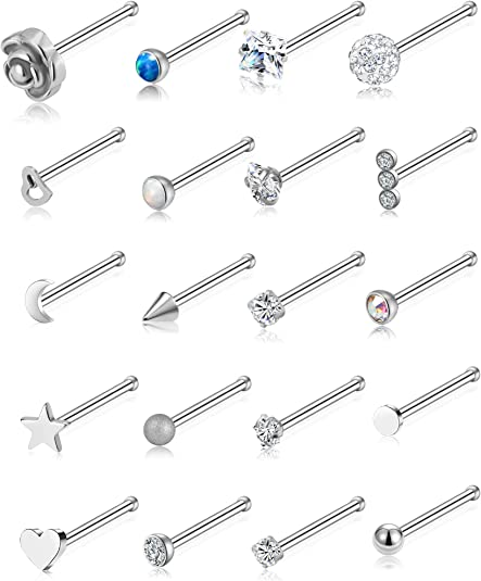 Piercing Jewelry Set Stainless Steel L Shape Curved Rod Square Zircon Nose Studs