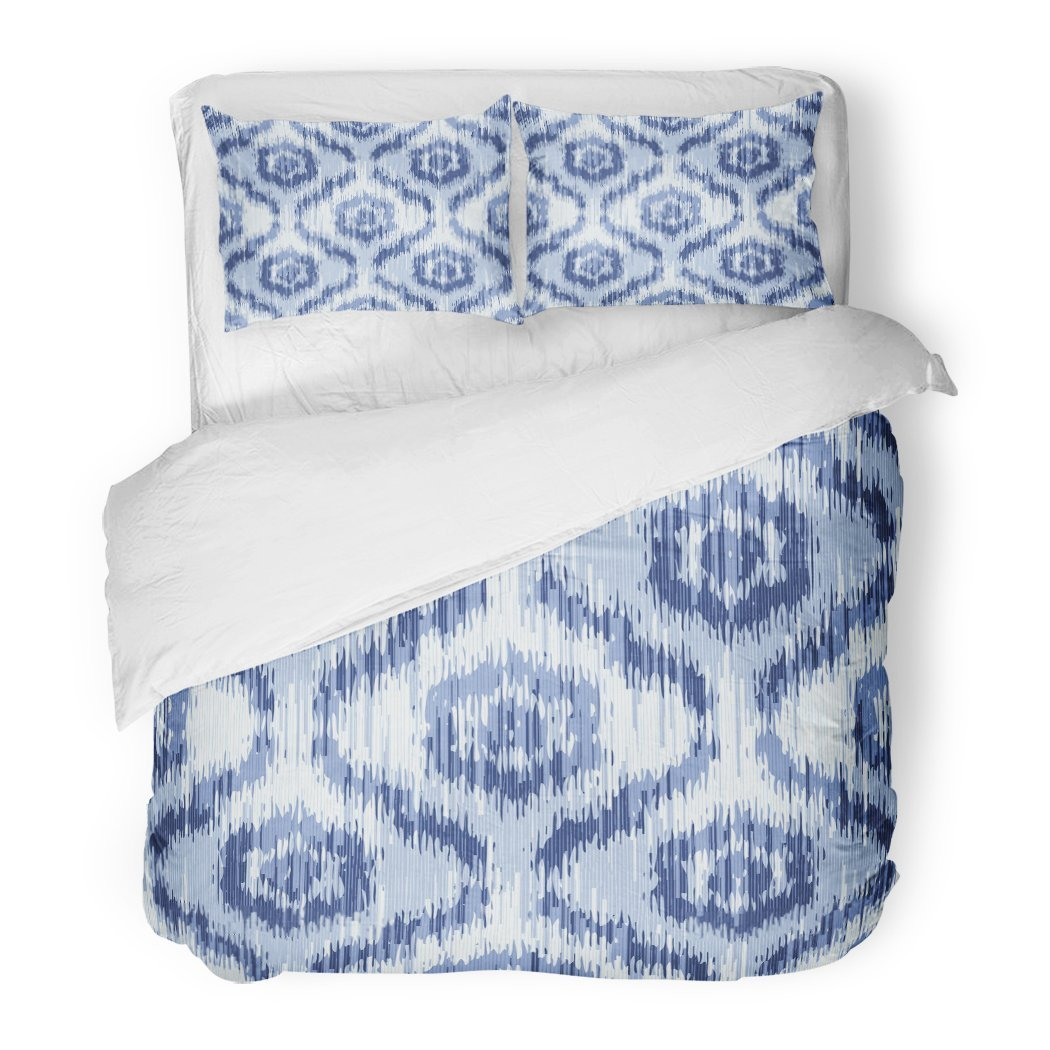 SanChic Duvet Cover Set All Moroccan Faux Tribal Flower Ikat Pattern Over Morocco Indigo Wall Decorative Bedding Set with 2 Pillow Shams Full/Queen Size