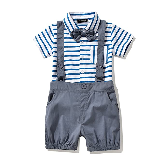 5b14d3167 Amazon.com: FERENYI Baby Boy's Bowtie Gentleman Romper Jumpsuit Overalls  Stripe Rompers Sets: Clothing