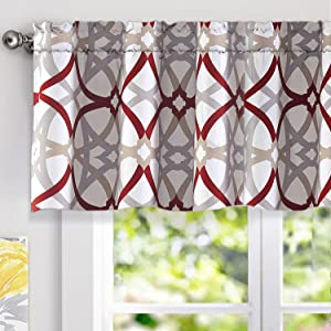 "DriftAway Alexander Spiral Geo Trellis Pattern Window Curtain Valance,Rod Pocket, 52""x18""+2""Header(Red/Gray)"