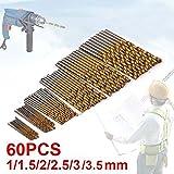 60 Forets hélicoïdaux JTENG Forets HSS titanium Micro Drill Forets Bits métrique HSS haute vitesse en acier 1/1.5/2/2.5/ 3/3.5mm Drill Set micro mèche set outils