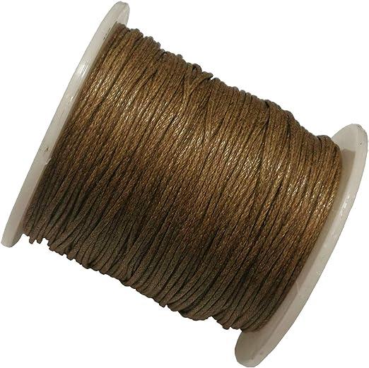 Perlin - Cordón de algodón encerado, 75 m, de color marrón, 1 mm, cuerda para joyas, hilo de algodón de cera, cinta para perlas y joyas C286: Amazon.es: Juguetes y juegos