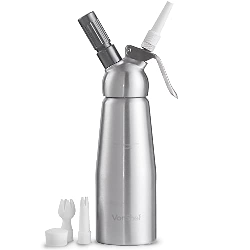 VonShef 500ml Whipped Cream Dispenser with Attachments – 3 X Decorating Nozzles – Brushed Stainless Steel Finish