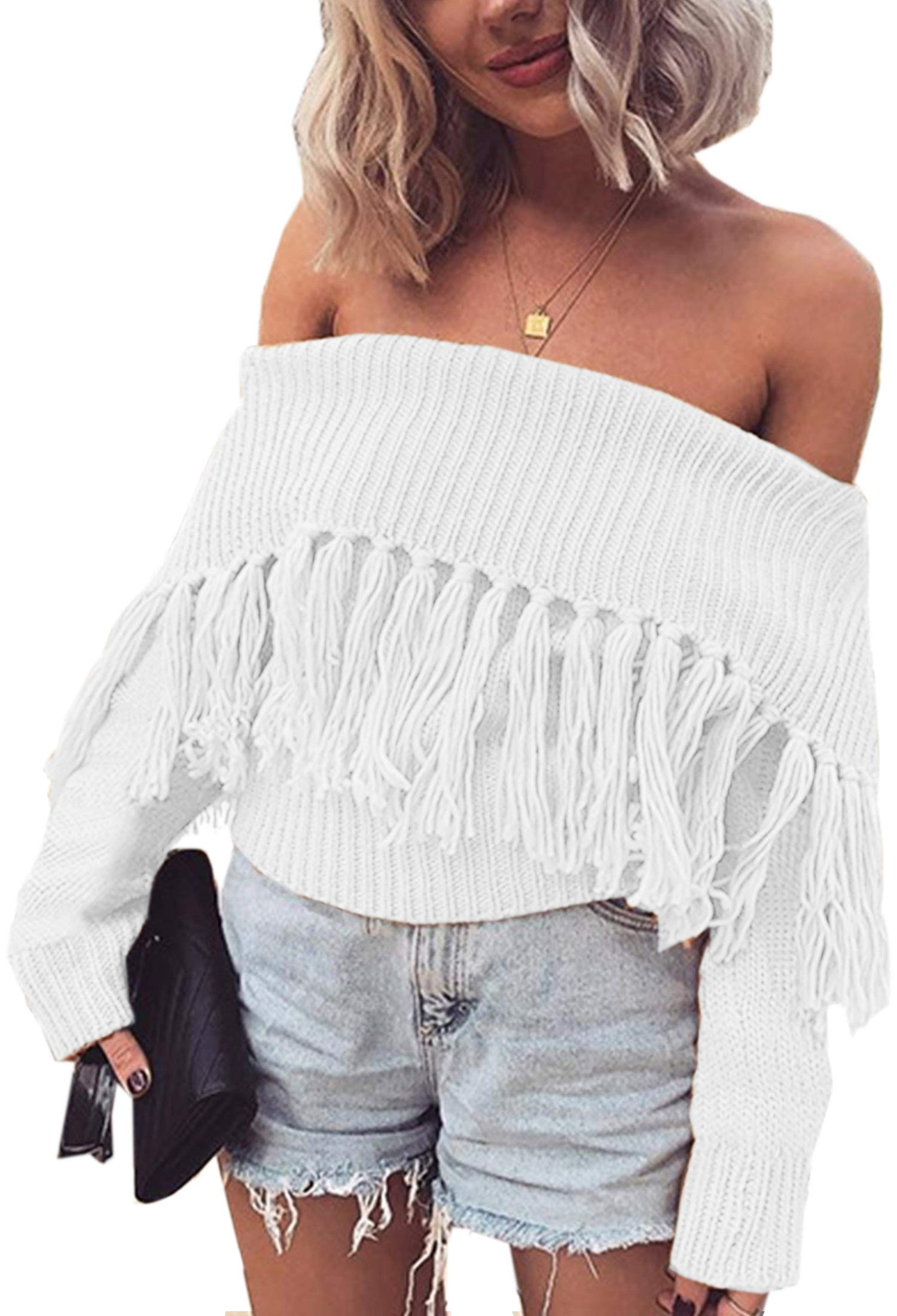 Angashion Women's Sexy Off Shoulder Long Sleeve Slim Fit Fringe Knit Crop Top Sweater White S